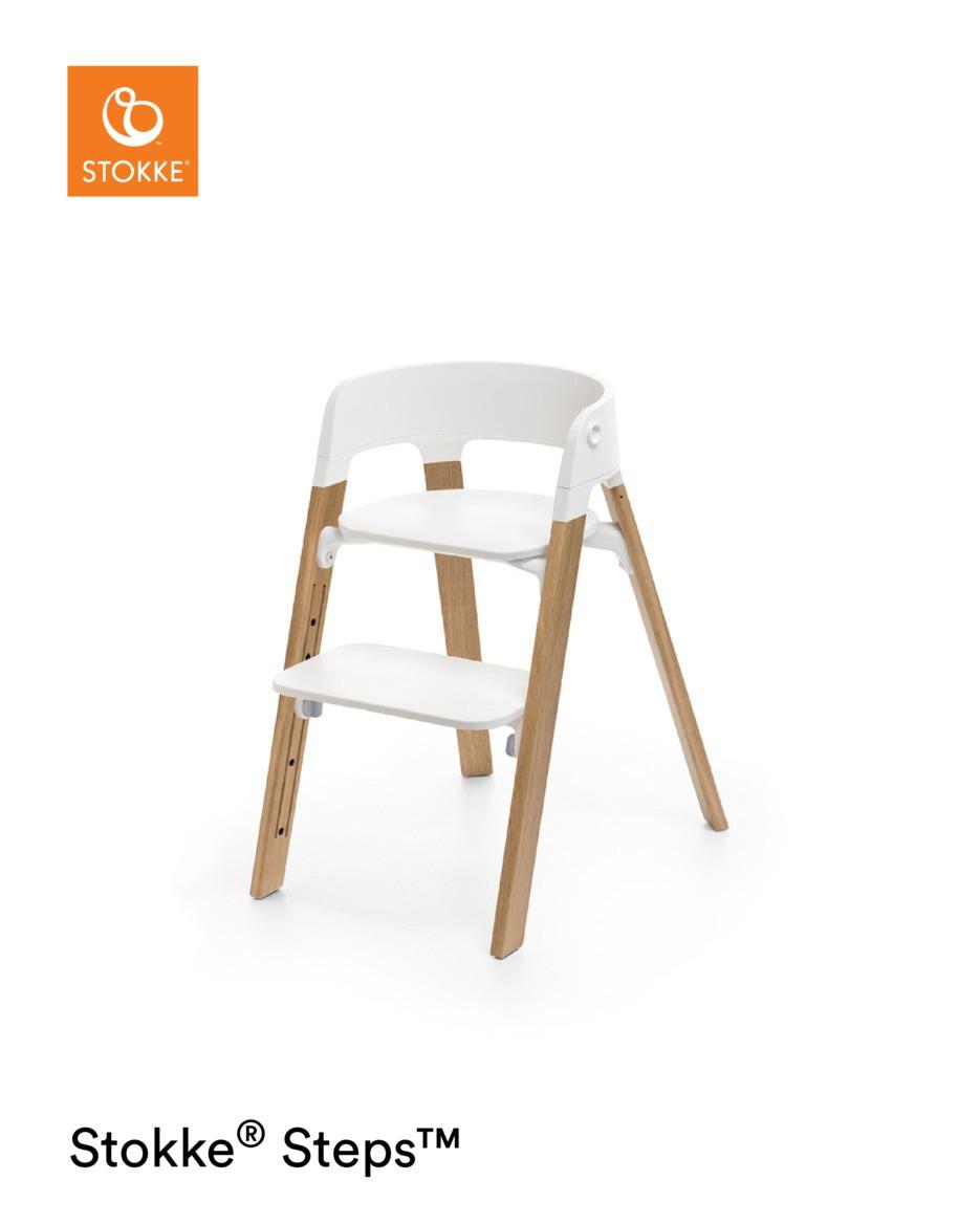 Stokke Steps Chair OAK m/hvitt sete og natur ben