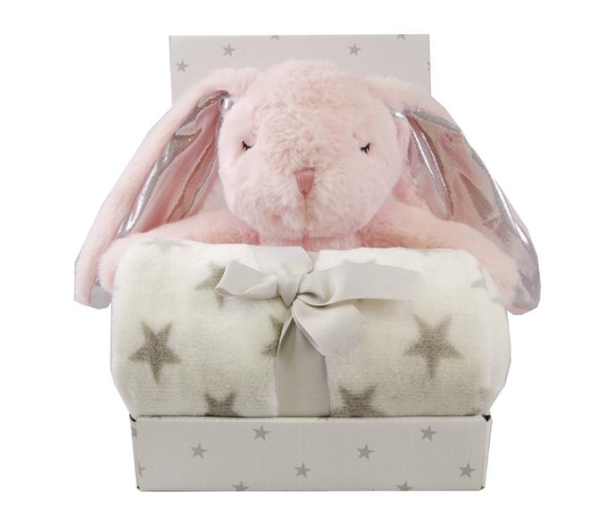 Gavepakning m/pledd og bamse Rosa Kanin