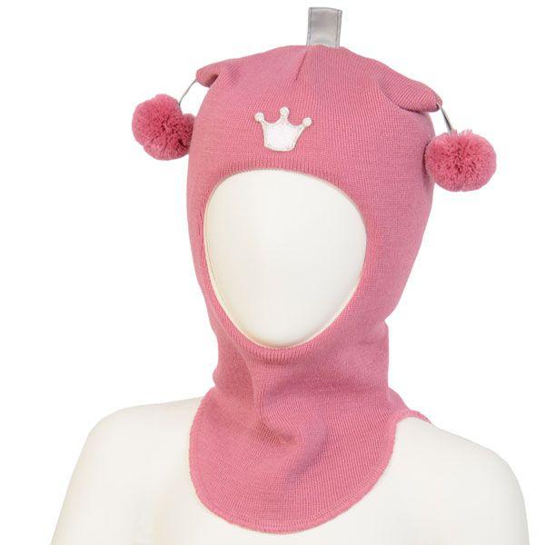 Kivat vinterlue balaclava, rosa med krone