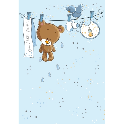 Nyfødt kort, En liten gutt, Bamse