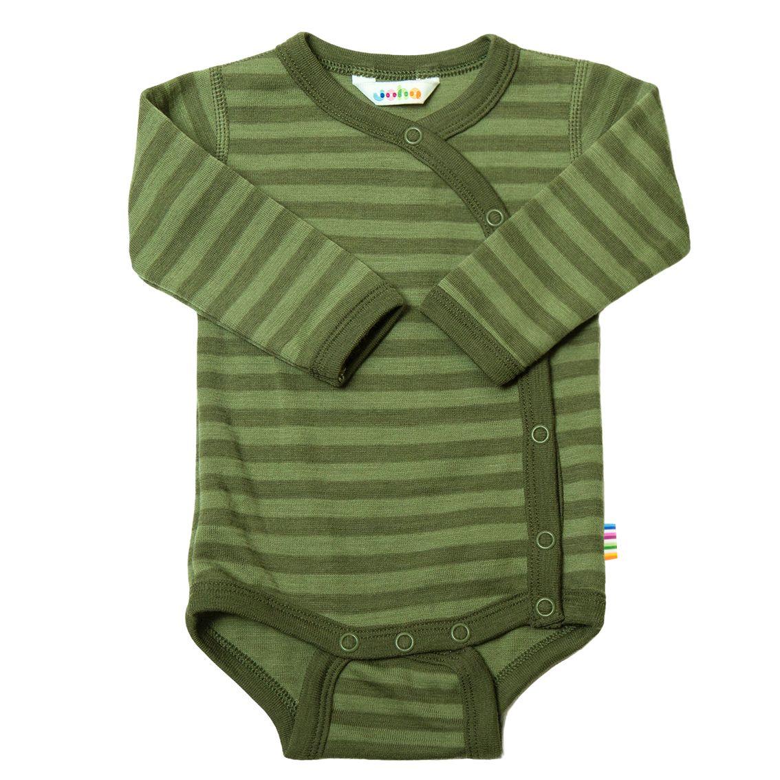 Joha Prematur Stripe Baby Ull Body m/omslag Grøn