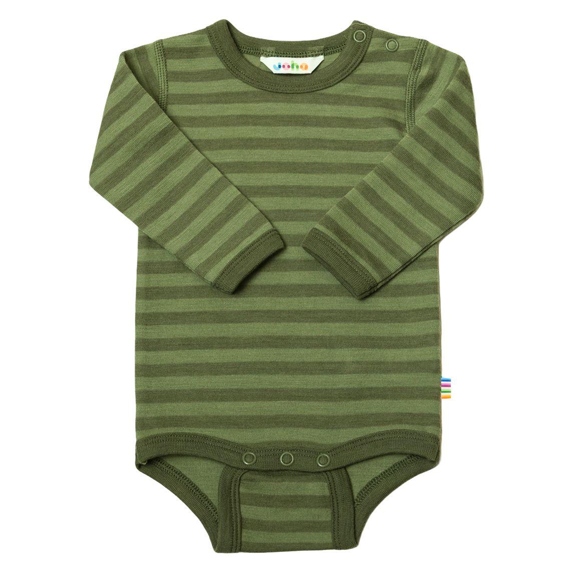 Joha Stripe Baby Ull Body Grøn