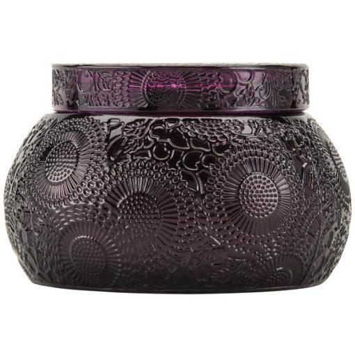 Embossed Glass Chawan Bowl Santiago Huckleberry