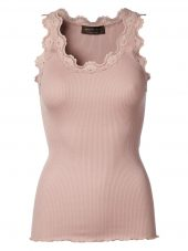 Organic top w. vintage lace, Powder Rose