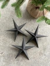 Ornament, 5 point star, Brown, 3pk