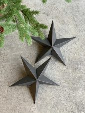 Ornament, 5 point star, Brown, 2pk