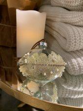 Heng, julekule glass med perler