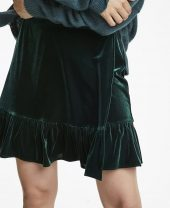 Emma velvet skirt, Green, Line of Oslo