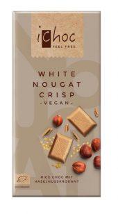Ichoc Lys sjokolade. hvit nougat. m/hasselnøttkrisp. vegan. [øko] 80 g