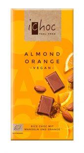 Ichoc Lys sjokolade m/mandler & appelsin. vegan. [øko] 80 g