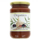 Organico Tomatsaus med oliven. chilli & hvitløk - økologisk - 360g