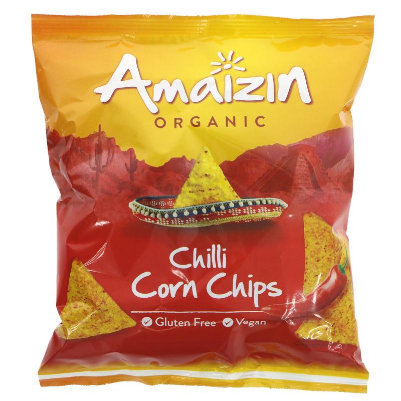 Tortillachips, mais, m/chilli, 75 g, økologisk, Amaizin