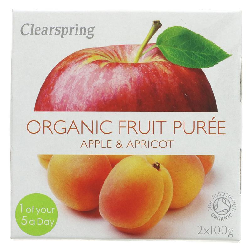 Clearspring fruktpurré eple og aprikos 2x100g
