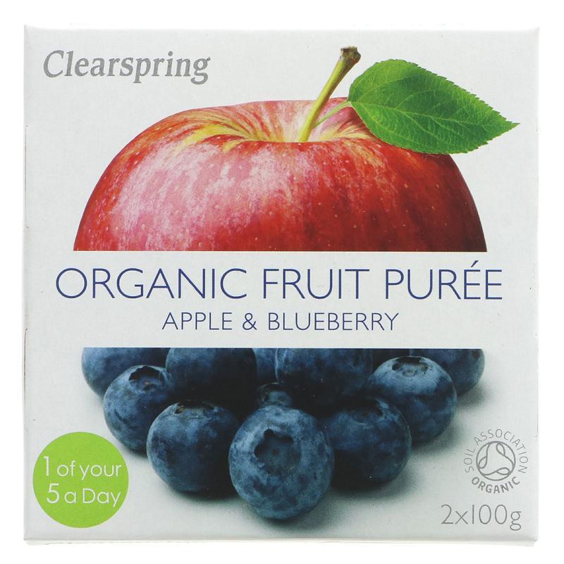 Clearspring Fruktpuré Eple. blåbær. 2 x 100g Øko