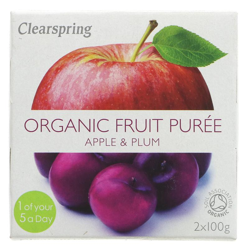 Clearspring fruktpurré eple og plomme 2x100g