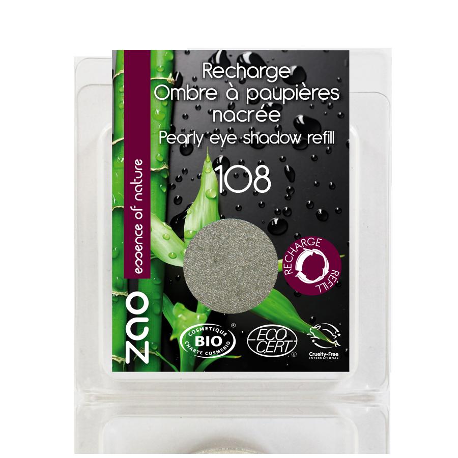 ZAO Refill Pearly Eye Shadow 108 Pearly Grey Green - 3g