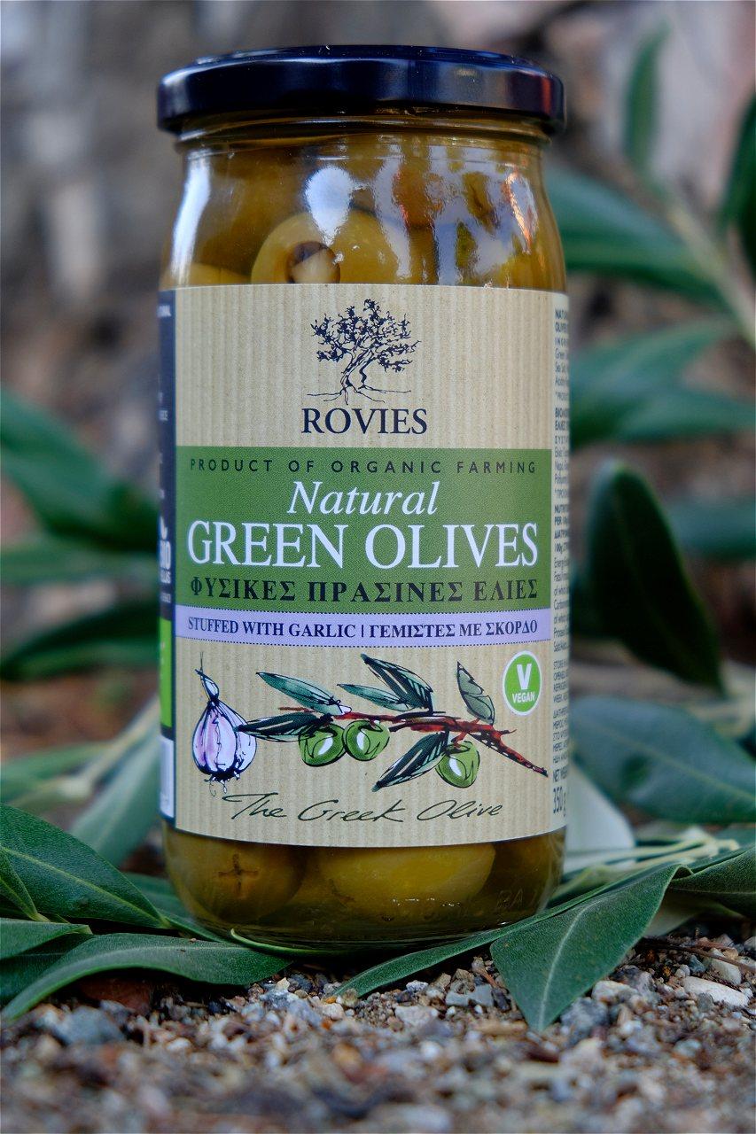 Oliven, grønne m/hvitløk, 200 g, økologisk, Rovies