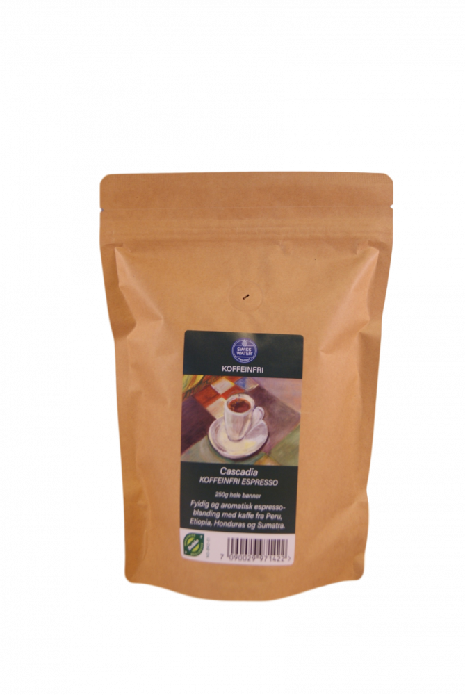 Cascadia Koffeinfri espressoblanding 250g Økologisk, kaffe hele