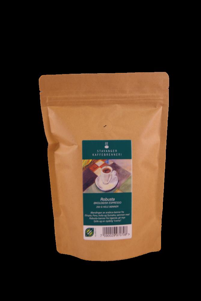 Økologisk Robusta espresso 250g, kaffe hele bønner