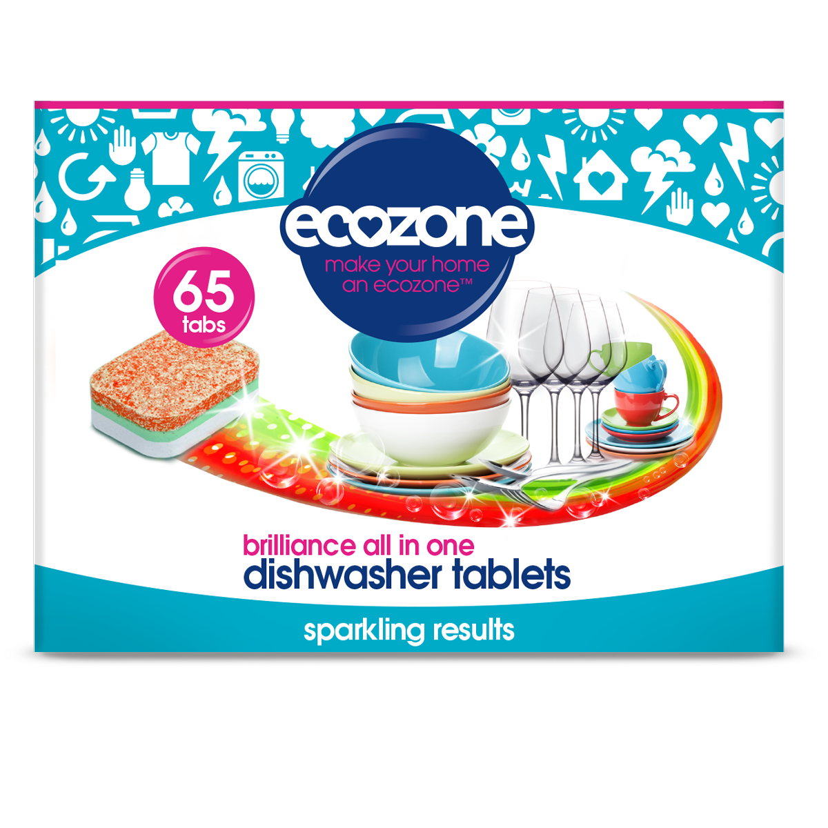 Ecozone Dishwasher Tablets Brilliance - 65 tabs