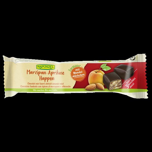 Marsipan-aprikos biter m/mørk sjokolade, 50 g , økologisk, Rapunzel