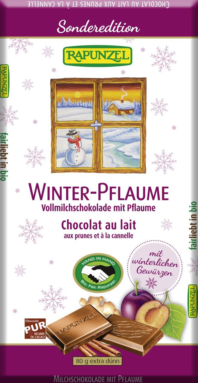 Melkesjokolade m/vinterplomme, 80 g, økologisk, Rapunzel