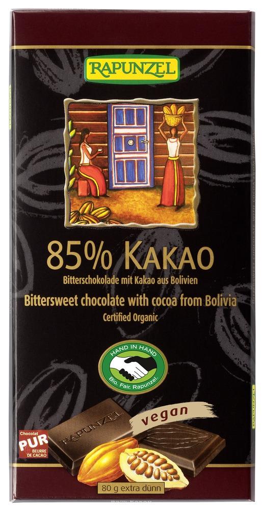 Mørk sjokolade, 85 %, 80 g, økologisk, Rapunzel