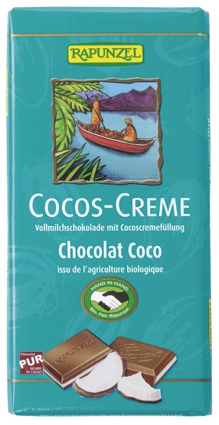 Melkesjokolade, m/kokoskrem, 100 g, økologisk, Rapunzel