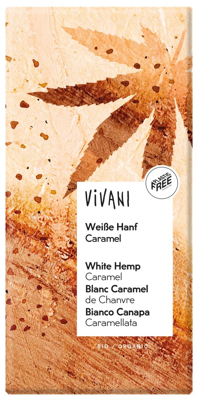Hvit sjokolade m/hemp-karamell & Fleur de Sel, 80 g, øko, Vivani