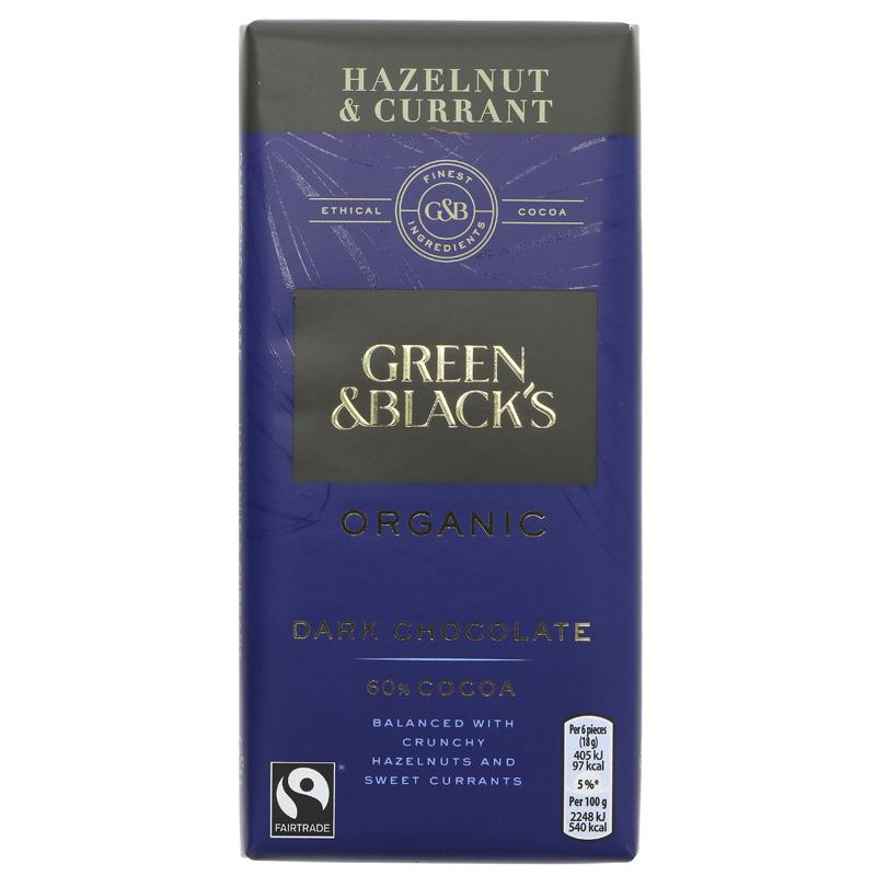 GB Mørk sjokolade m/hasselnøtt/korinter - 90g