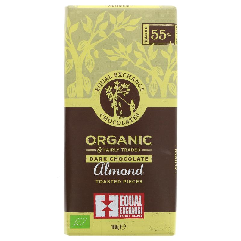 Equal Exchange Dark Chocolate with toasted Almond 100g