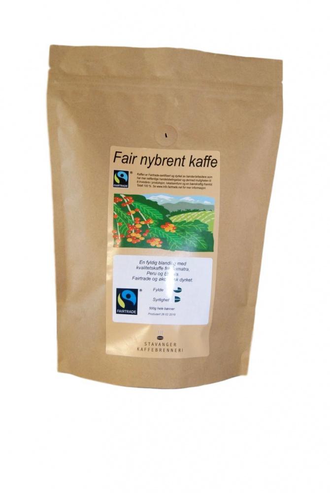 SK Fair nybrent kaffe 500g økologisk, Hele bønner
