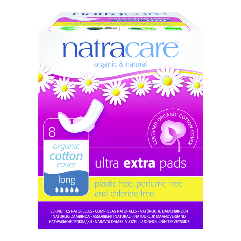 Natracare Ultra extra pads Lang 8 med vinger