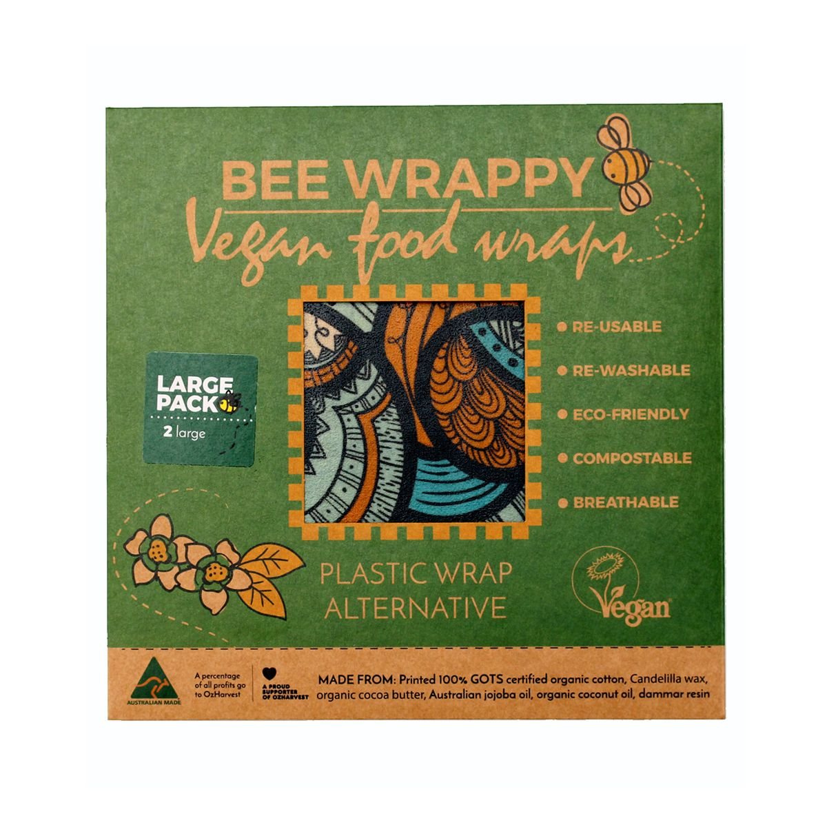 Bee Wrappy - voksark veganske - 2-pakk large