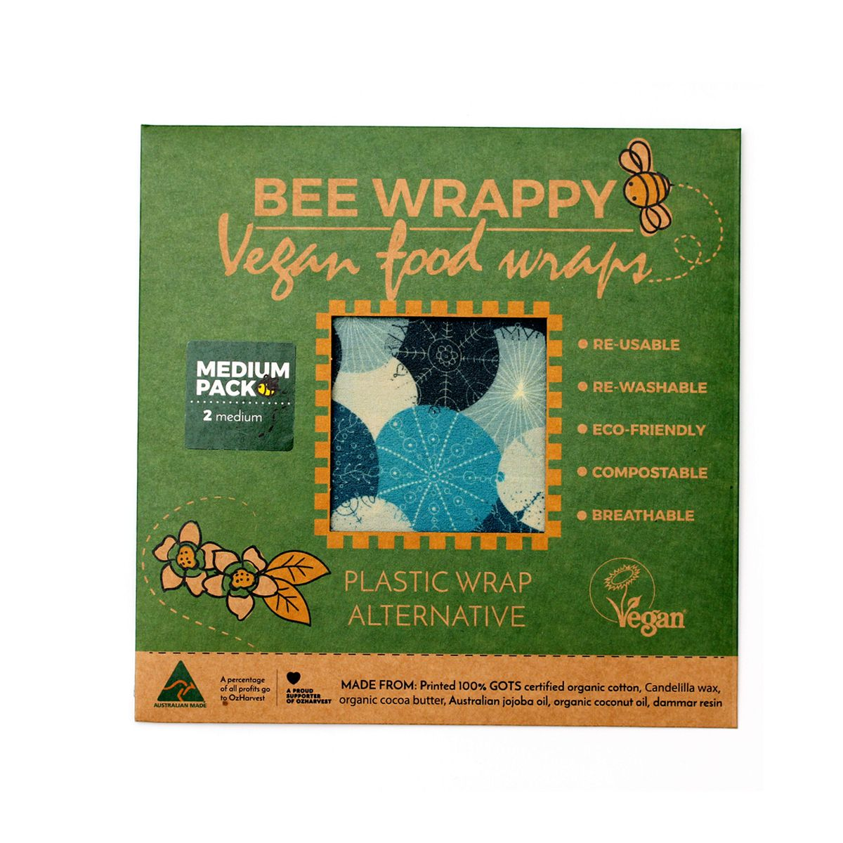 Bee Wrappy - voksark veganske - 2-pakk medium