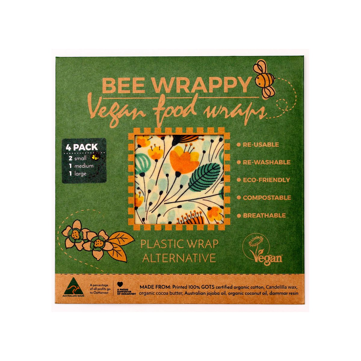 Bee Wrappy veganske voksark, 4 stk