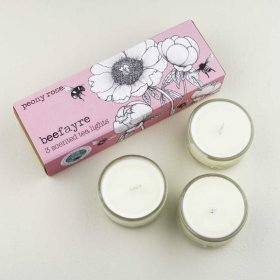 Beefayre - telys 3 stk - peony rose