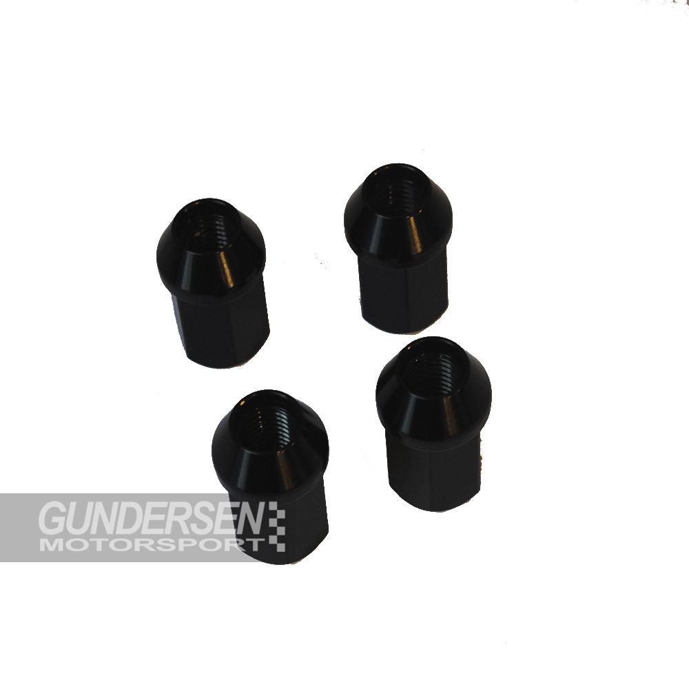 Alu Hjul mutter svart 12 x 1,5 60° open nut 4 pack