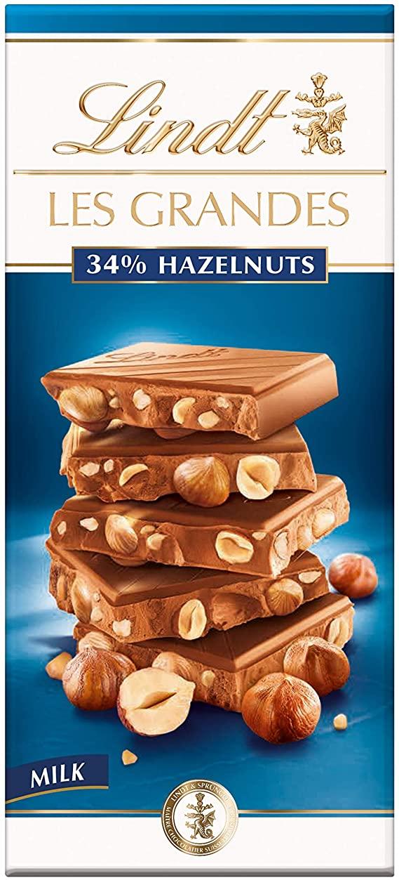 Lindt milk les grandes 34% hazelnuts