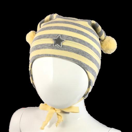 Kivat - Stripet lue med to dusker og stjerne, gul/grå