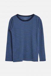 Hust&Claire - Trøye Abba med striper ull/bambus, blue glass blå