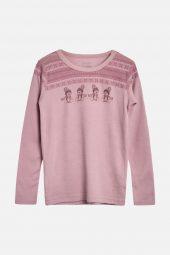 Hust&Claire - Trøye Abba med bamser ull/bambus, dusty rose rosa