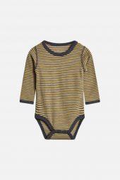 Hust&Claire - Body Baloo med striper ull/bambus, grey blend gul