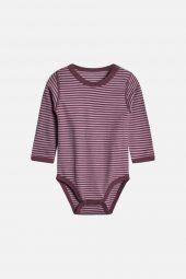 Hust&Claire - Baloo body med striper ull/bambus, purple fog