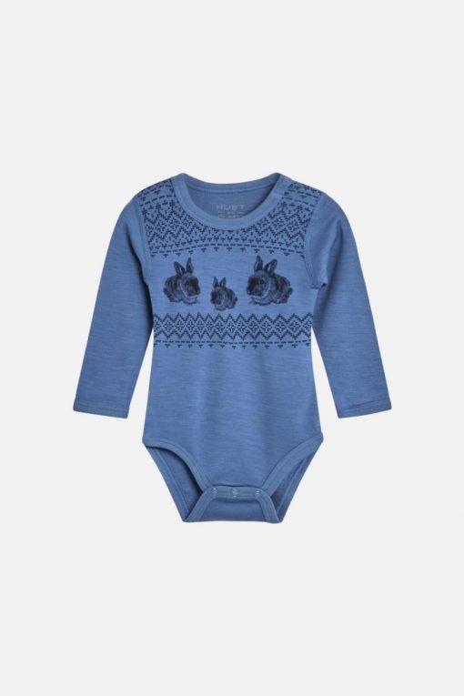 Hust&Claire - Body Baloo med kaniner ull/bambus, blue glass blå