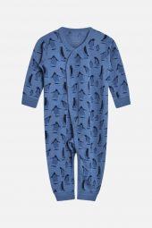 Hust&Claire - Heldress Milo med pingviner merinoull, blue glass blå