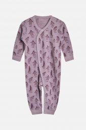 Hust&Claire - Heldress Milo med pingviner merinoull, purple fog lilla