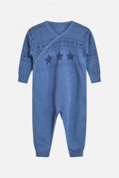 Hust&Claire - Heldress Modi med stjerner merinoull, blue glass blå
