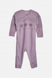 Hust&Claire - Heldress Modi med hjerter merinoull, purple fog lilla