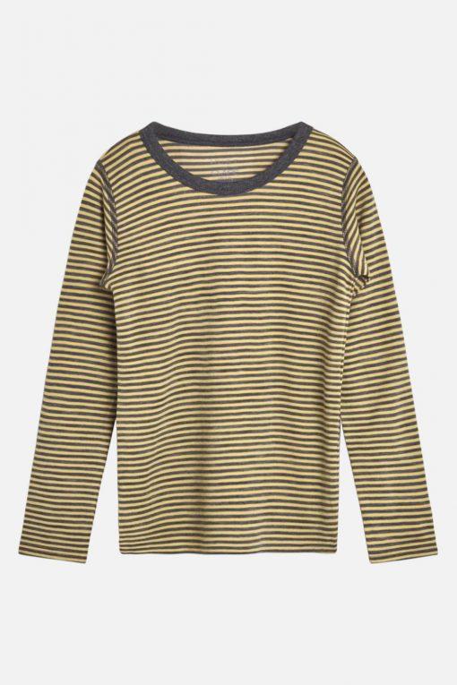 Hust&Claire - Trøye Abba med striper ull/bambus, grå/gul